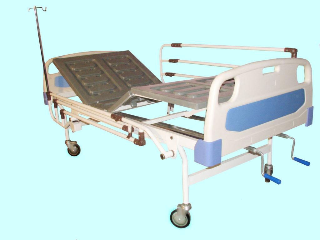 تخت بیمارستانی سه شکن مکانیکی - کد 104 - تخت بیمارستانی صحرایی